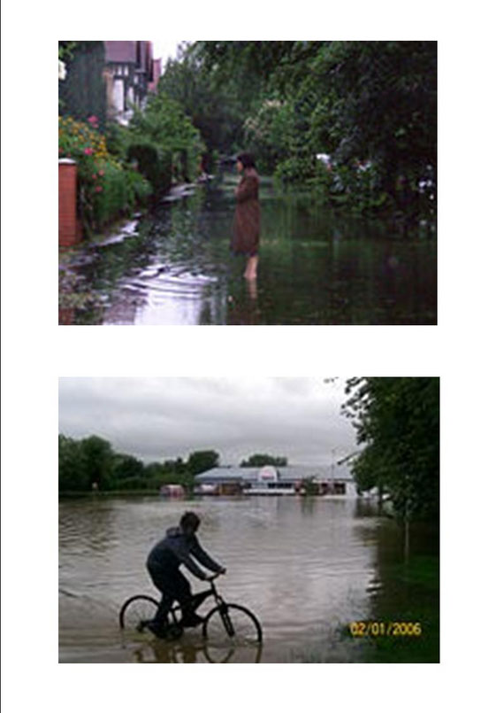 Flooded residential street with resident standing ankle deep in water, seen in York, Yorkshire and Flooded commercial properties with cyclist making their way through deep waters seen in York, Yorkshire