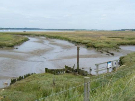 Outfall from King's Fleet into the River Deben estuary near Felixstowe Ferry