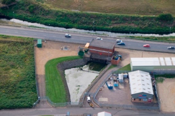 Aerial view of the Pierrepoint Pumping Station and King's Lynn IDB depot, situated by Nar Ouse Way in King's Lynn