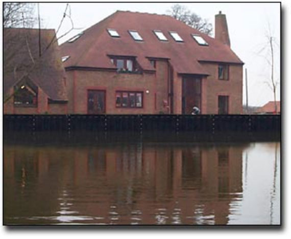 New development housing close to flooded area in York, Yorkshire