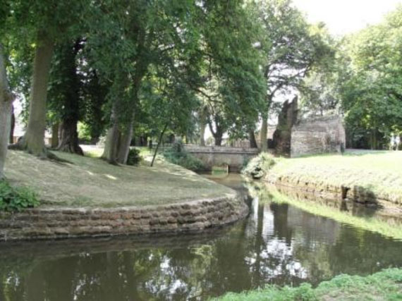A calm stretch of the Gaywood River, through 'The Walks' public park in the centre of King's Lynn