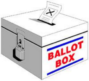 A ballet box with marked ballot paper