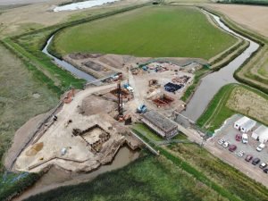 Aerial view of the new Wolferton Pumping Station building site.