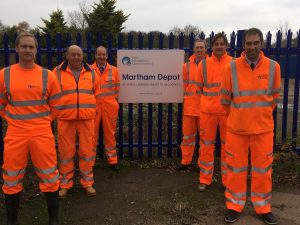 Members of the Broads Internal Drainage Board Operations Team photographed at the Martham Depot.
